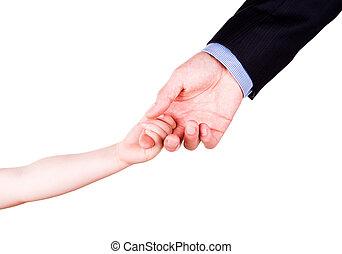 togethterness, 父, 手。, サポート, 信頼, 子を抱く, concept.