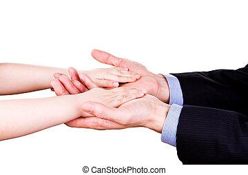 togethterness, pai, mão., apoio, confiança, prendendo criança, concept.
