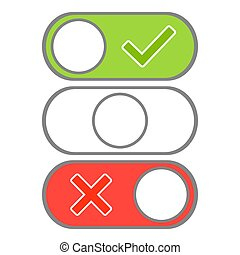 Toggle button switch off or turn. Modern selector green, white and red colors