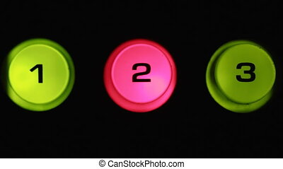 Toggle buttons, selected button glows red. Close-up buttons...