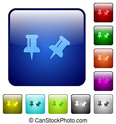 Toggle pin color square buttons