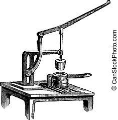 Toggle Press, vintage engraving - Toggle Press, vintage...