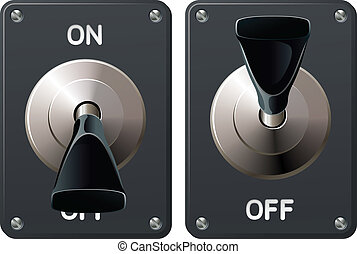 A power toggle switch in the on and off positions