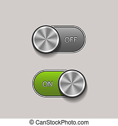 Toggle Switch - Vector Toggle Switch On and Off position,...