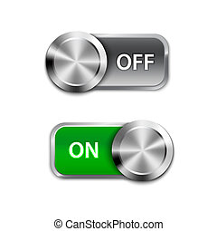Toggle Switch On and Off position, On/Off sliders. Vector ...