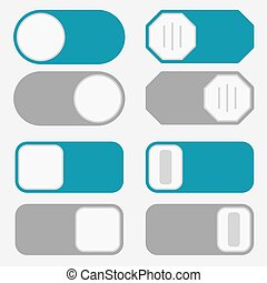 Toggle switch, on off button - Toggle switch simple icons, ...