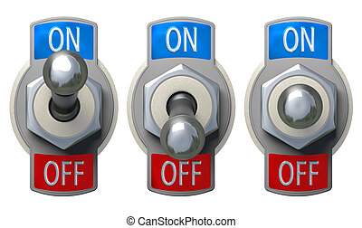 Toggle Switch set with clipping path - Toggle Switch set -...