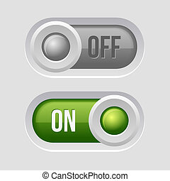 Toggle Switch Sliders On and Off position. Vector Illustration