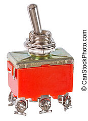 Toggle switch - Red toggle switch isolated on a white...