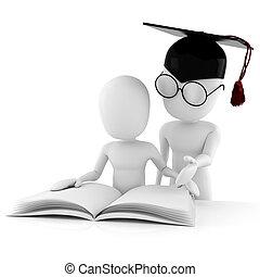 toghether, studiare, studente, 3d, insegnante, uomo