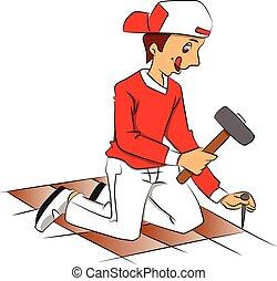 togliere, chiodo, vettore, floor., martellare, riparatore, pavimentato