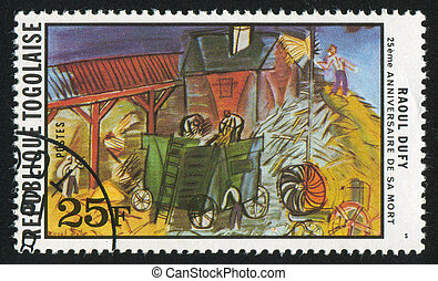 Threshing - TOGO - CIRCA 1978: stamp printed by Togo, shows...