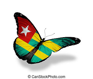 Togo flag butterfly flying, isolated on white background