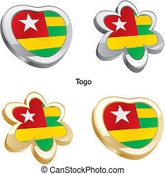 fully editable vector illustration of togo flag in heart and flower shape