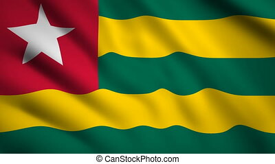 Togo flag Motion video waving in wind. Flag Closeup 1080p HD footage
