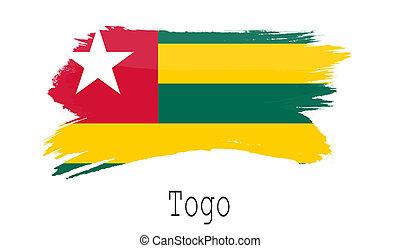 Togo flag on white background