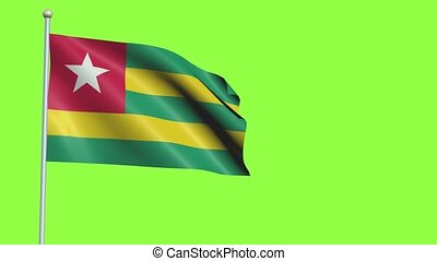 Togo Flag in 3D render with green screen background in Slow Motion