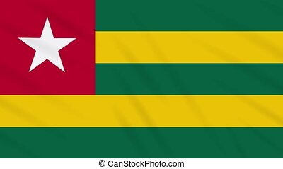 Togolese Republic - Togo flag waving cloth, ideal for background, loop