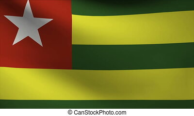 togo flag waving gently in wind