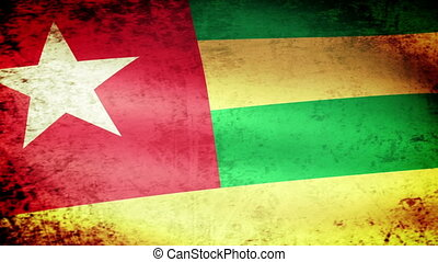 Togo Flag Waving, grunge look