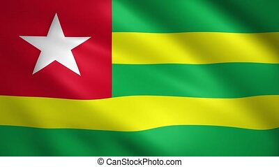 Togo flag moving in the wind