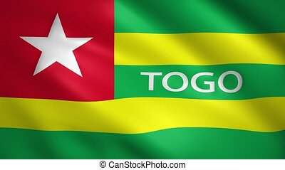 Togo flag moving in the wind with the text of the name of the country