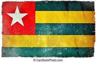 togo, grunge, vlag