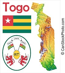Togo map Administrative division of the togolese republic