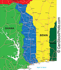 Ghana map Highly detailed vector map of ghana with vector