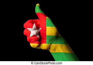 togo, nationale vlag, duim boven, gebaar, voor,...