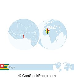 Togo on world globe with flag and regional map of Togo....