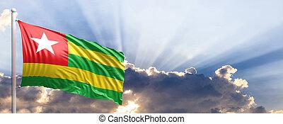 togo vlag, op, blauwe , sky., 3d, illustratie