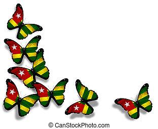 togo vlag, vlinder, vrijstaand, op wit, achtergrond