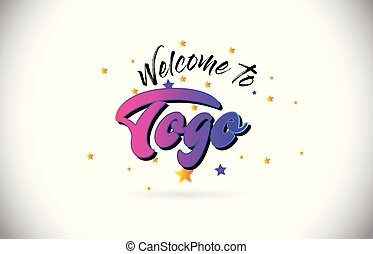 Togo Welcome To Word Text with Purple Pink Handwritten Font and Yellow Stars Shape Design Vector.