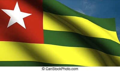 Togolese Flag waving in wind with clouds in background