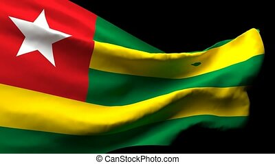 Togo's national flag is flying in the wind