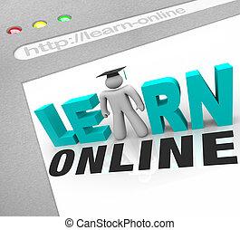 toile, écran, apprendre, -, ligne