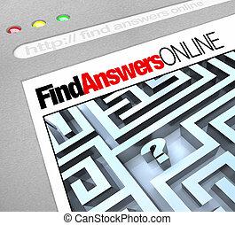 toile, écran, -, réponses, ligne, trouver