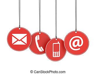 toile, étiquettes, icônes, nous, contact, rouges