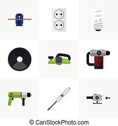 toile, être, ui, ensemble, mobile, icons., boîte, editable, broyeur, utilisé, inclut, symboles, infographic, électrique, sarbacane, 9, tel, more., jointer, design.