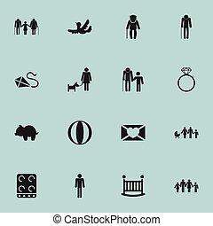 toile, être, ui, ensemble, mobile, icons., diamond., 16, editable, utilisé, messieurs, symboles, parents, infographic, papy, boîte, solitaire, tel, inclut, design.