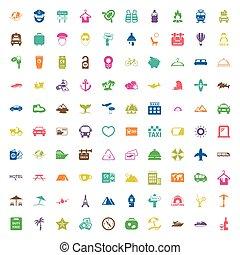 toile, 100, ensemble, vacances, icônes