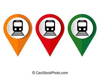 toile, app, mobile, illustration, internet, vecteur, conception, plat, bouton, icône, train