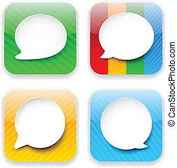 toile, app, parole, icons., bulle