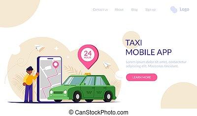 toile, appeler, gens, via, vert, screen., voiture., template., app., téléphone, plat, carte, grand, vecteur, illustration., page, moderne, ville, atterrissage, mobile, taxi