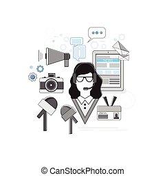 toile, application, portail, internet, nouvelles, bannière
