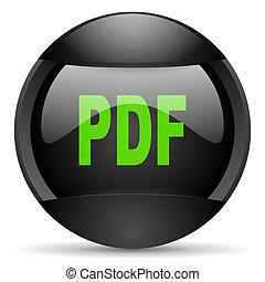 toile, arrière-plan noir, pdf, blanc, rond, icône