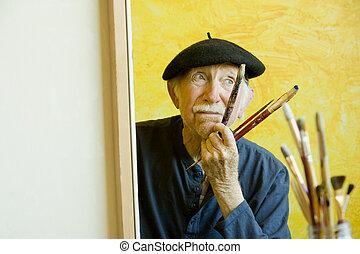 toile, béret, artiste