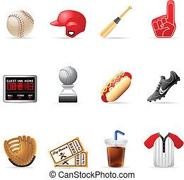 toile, -, base-ball, icônes