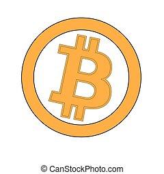 toile, bitcoins, or, monnaie, isolé, autocollant, crypto, bitcoin, arrière-plan., pages, printing., logo, blanc, monnaie, ou, bloc, bitocones